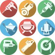 Flat icons for construction equipment - stock illustration