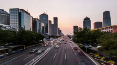Walking and looking the transportation on Chang'an Avenue near Guomao CBD Stock Footage