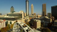 Atlanta Aerial Cityscape Ferris Wheel - stock footage