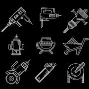 White outline vector icons for construction equipment - stock illustration