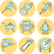 Flat line colored vector icons for construction equipment - stock illustration