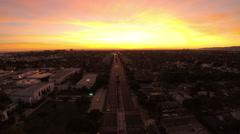 Los Angeles Aerial Venice Blvd Sunset - stock footage
