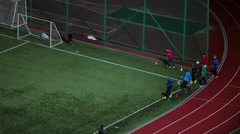 Stock Video Footage of Soccer training on evening green field