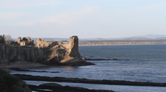Timelapse of St Andrews Castle Scotland Stock Footage