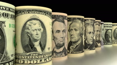 Rolled Dollars animation - stock footage