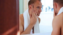 Young adult man foamed face before shaving Stock Footage