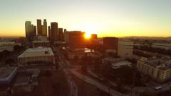 Los Angeles Aerial Downtown Cityscape Sunset - stock footage