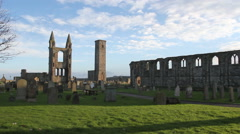 Timelapse of St Andrews cathedral Scotland Stock Footage