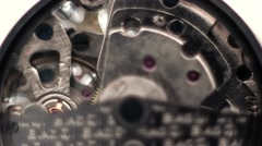 Time lapse clip of the working mechanics of a skeleton watch Stock Footage