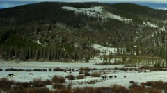 Time lapse reveal of horse ranch in the winter to solar panels in the country Stock Footage