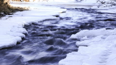 Looping time lapse clip of icy river in the snowy winter - stock footage