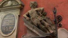 German inscription on No. 20 building, Stortorget Stock Footage