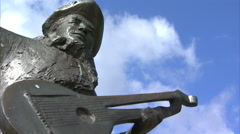 Statue of Evert Taube, Stockholm Stock Footage