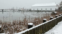 Britannia Heritage Shipyard Winter Snow, Richmond Stock Footage