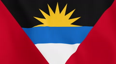 Loopable: Flag of Antigua and Barbuda Waving in Wind Stock Footage