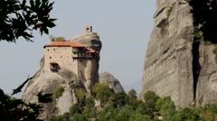 famous Meteora Monastery, Greece 12 - stock footage