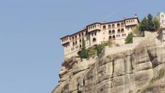 Stock Video Footage of Meteora Grecian Monastery Holy Trinity, pan shot 17