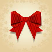 red bow with dot pattern - stock illustration