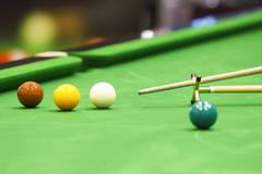 Snooker ball and rest stick Stock Photos