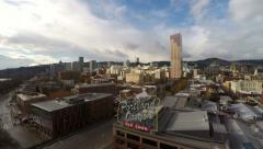 Portland Aerial Cityscape River Bridge - stock footage