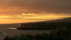 Tropical Coastline at Sunset in Hawaii Island Stock Footage