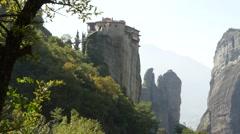 Meteora Grecian Monastery Rousánou 42 Stock Footage