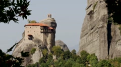 Meteora Grecian Monastery atop steep rocks  12 Stock Footage