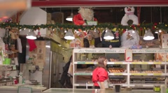 Donut store - granville island - christmas Stock Footage