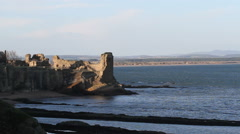 Ruin of St Andrews castle Scotland Stock Footage