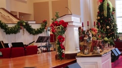 Zoom out from church podium Stock Footage