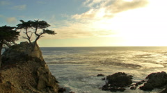 Time Lapse of Lone Cypress at Sunset in Pebble Beach, California Stock Footage