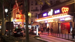 Red Light District in Paris by night Stock Footage