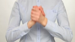 Unrecognizable woman showing gesture of unity Stock Footage