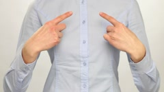 Unrecognizable woman pointing at herself with index finger Stock Footage
