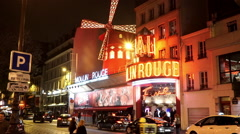 World famous Moulin Rouge bar in Paris - for editorial use only Stock Footage