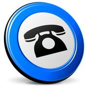 Stock Illustration of telephone 3d blue icon