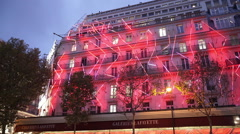 Famous Galeries Lafayette store in Paris - stock footage