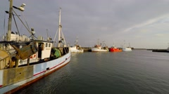 The Light blue fishing vessel is ready for take off Stock Footage