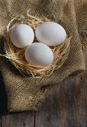 fresh farm eggs - stock photo