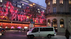 Famous Galeries Lafayette store in Paris Stock Footage