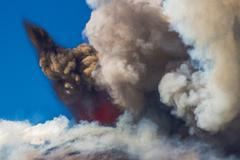 "eruption of the volcano ""etna"" in sicily, italy - stock photo"