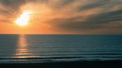 Sunset Peaceful Colorful Beautiful Ocean Beach Shore Waves Evening Sun Blazing Stock Footage