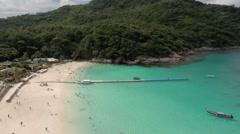 Ko Racha Yai Island. Flying over the beach. Stock Footage