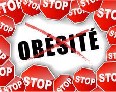 stop obesity french - stock illustration