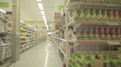 Supermarket aisles dolly shot Stock Footage