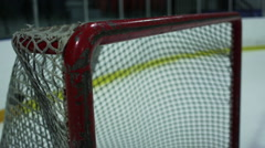 Slow Motion Hockey - Puck top corner in the net - Goal - stock footage