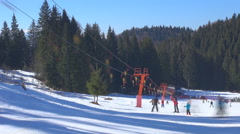 Timelapse cable chair ski lift mountain resort people enjoy winter sport sunny  - stock footage