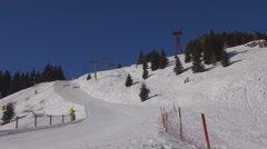 Timelapse chairlift motion ski piste mountain resort covered snow sunny day icon - stock footage