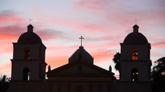 Time Lapse of Old Mission Santa Barbara at Sunset Stock Footage