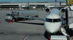 Salt Lake City Utah aircraft at gate taxi HD Stock Footage